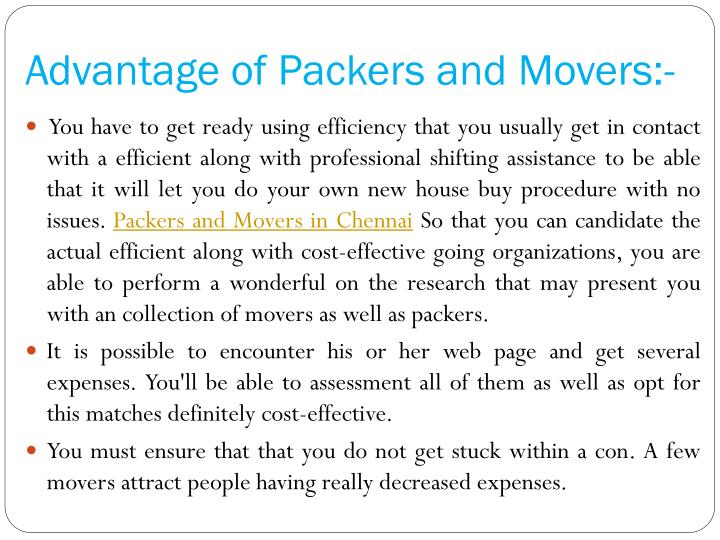 Advantage of packers and movers