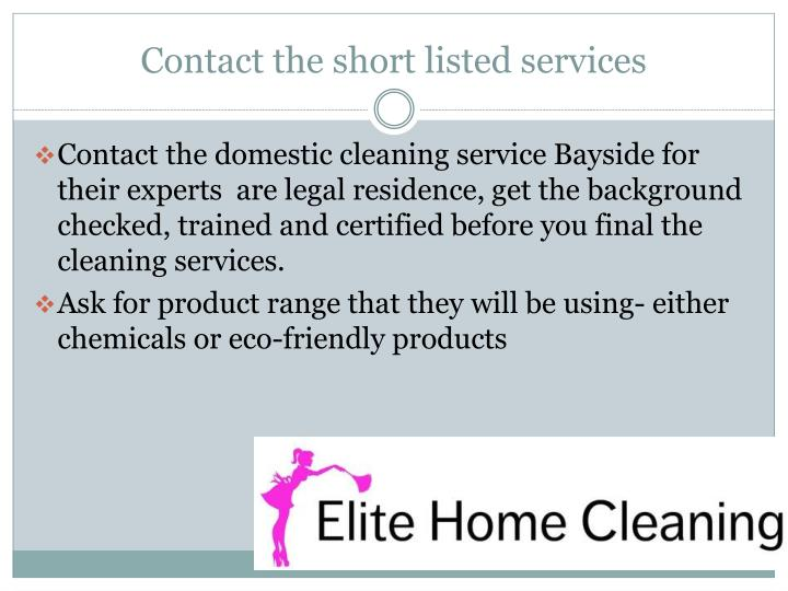 Contact the short listed services