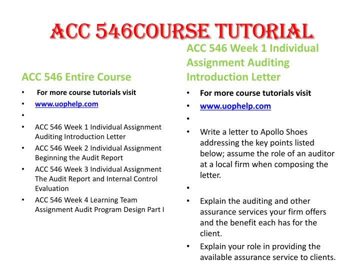 ACC 546Course Tutorial