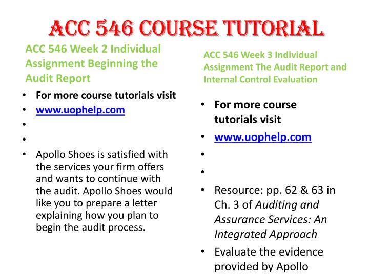 ACC 546 Course Tutorial