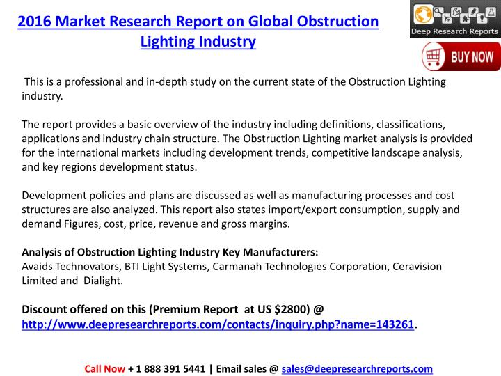 2016 Market Research Report on Global Obstruction Lighting Industry