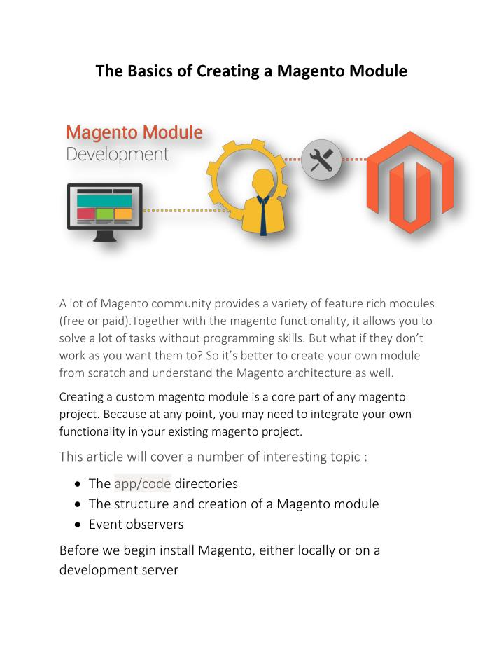 The Basics of Creating a Magento Module