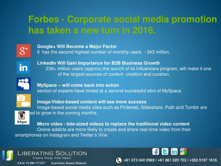 Forbes - Corporate social media promotion has taken a new turn in 2016.