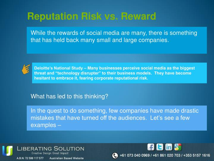 Reputation Risk vs. Reward