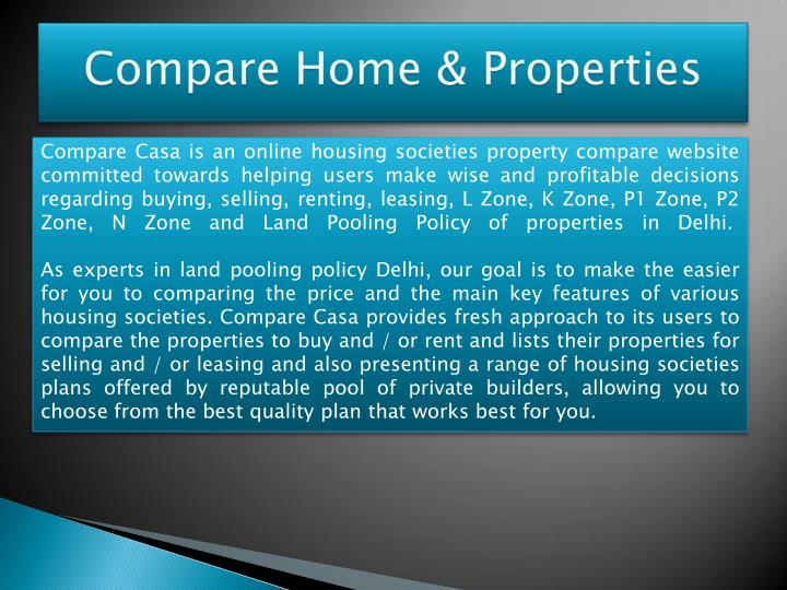 Compare Casa is an online housing societies property compare website