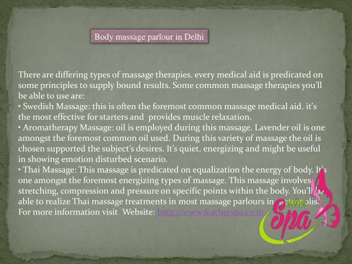 Body massage parlour in Delhi