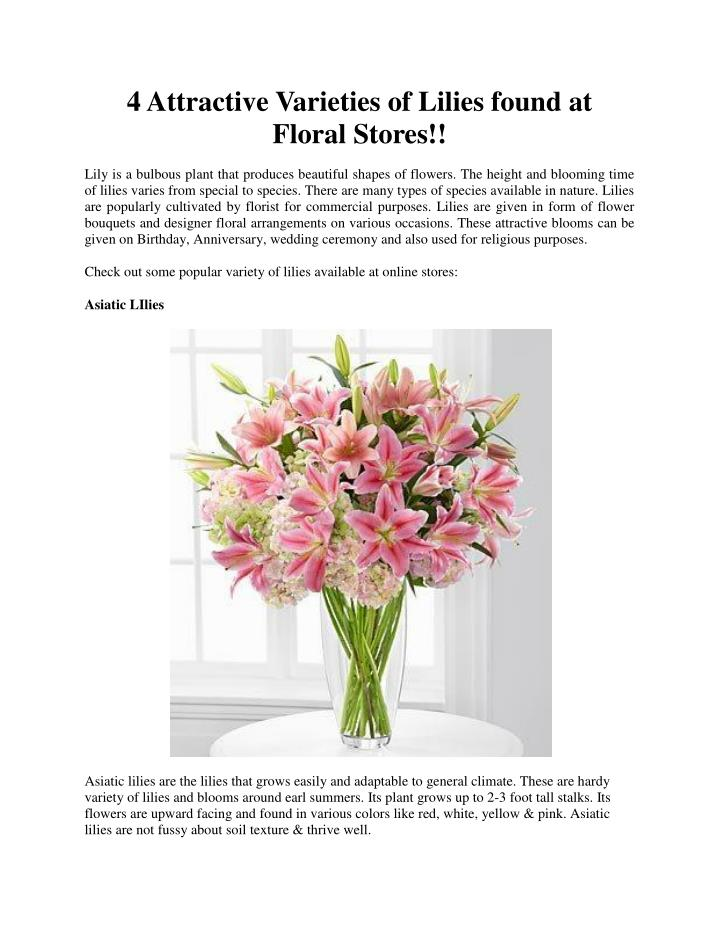 4 Attractive Varieties of Lilies found at