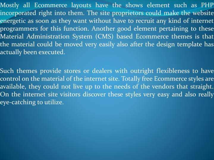 Mostly all Ecommerce layouts have the shows element such as PHP incorporated right into them. The si...