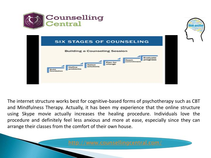 The internet structure works best for cognitive-based forms of psychotherapy such as CBT and Mindful...