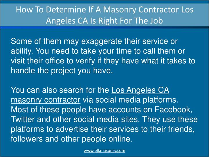 How To Determine If A Masonry Contractor Los Angeles CA Is Right For The Job