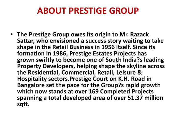 ABOUT PRESTIGE GROUP