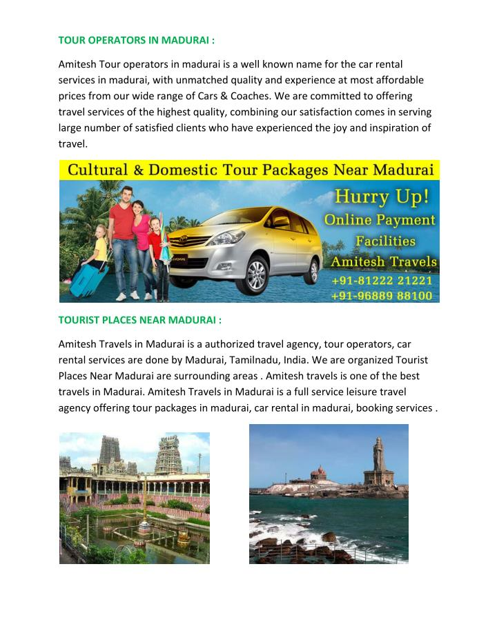 TOUR OPERATORS IN MADURAI :