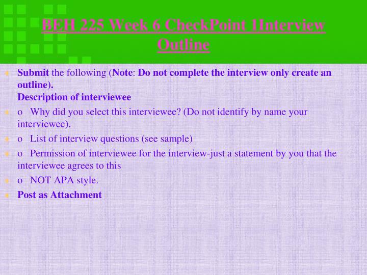 BEH 225 Week 6