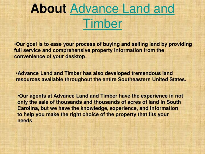 About advance land and timber