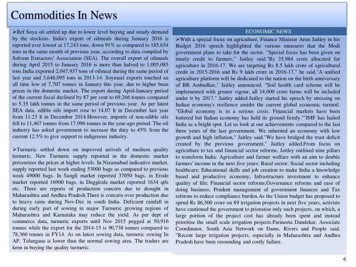 Commodities In News
