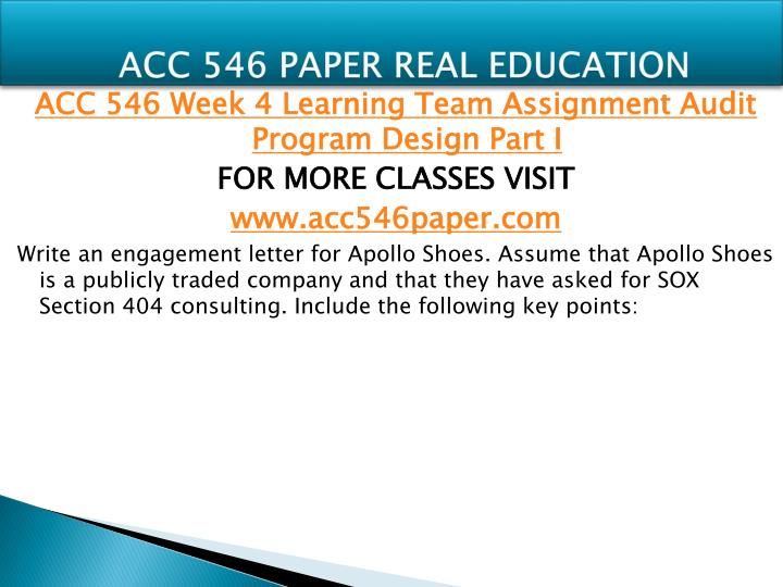 ACC 546 PAPER REAL EDUCATION