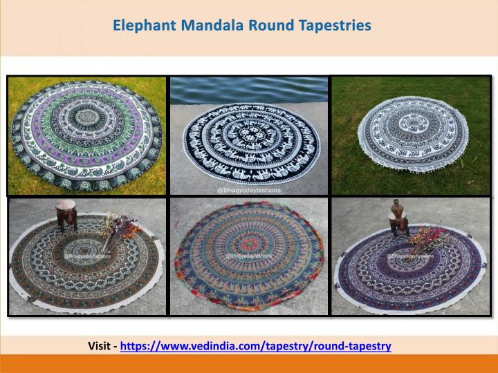 Elephant Mandala Round Tapestries