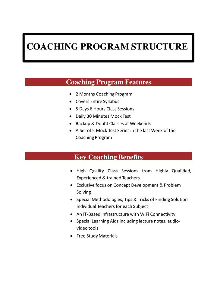 COACHING PROGRAM