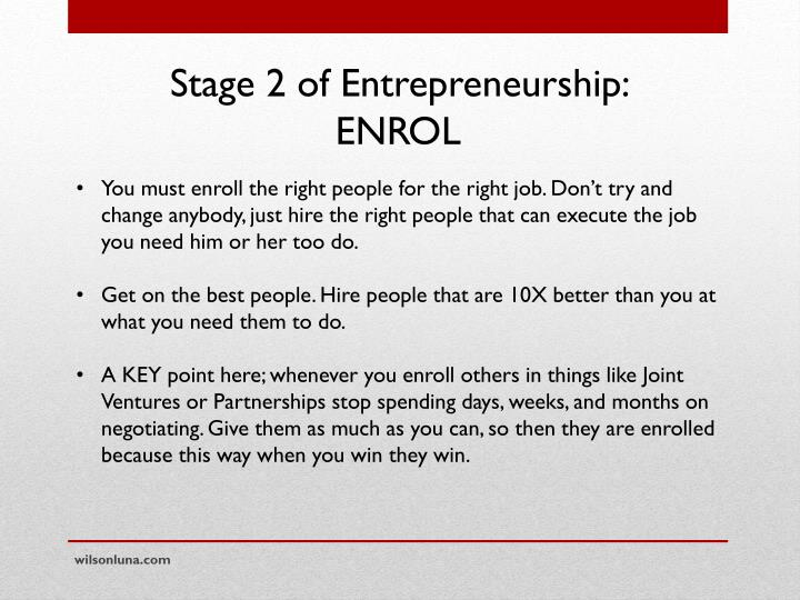 Stage 2 of Entrepreneurship: