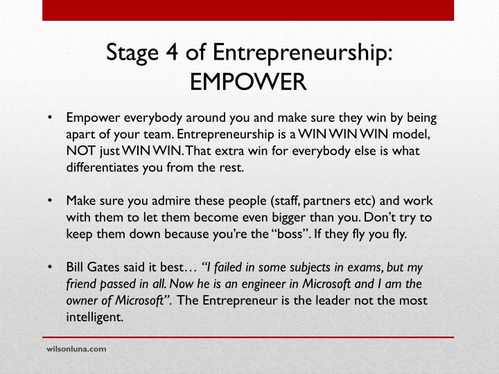 Stage 4 of Entrepreneurship: EMPOWER