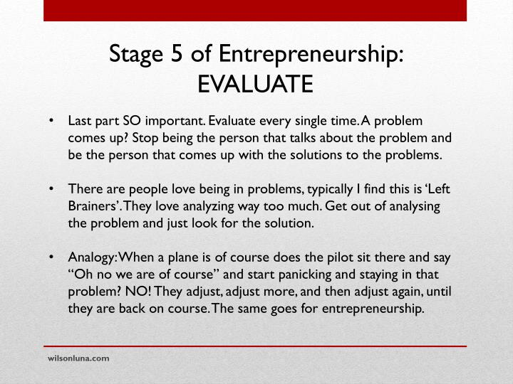 Stage 5 of Entrepreneurship: EVALUATE