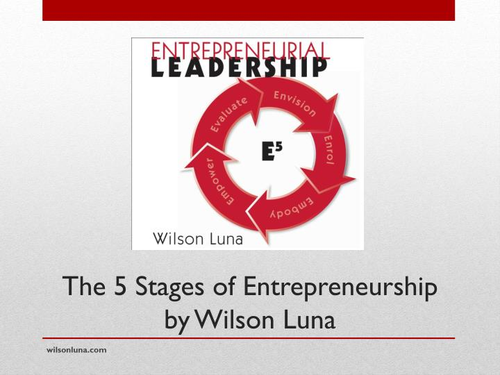 The 5 stages of entrepreneurship by wilson luna