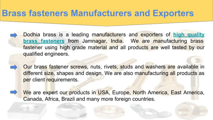Brass fasteners Manufacturers and Exporters