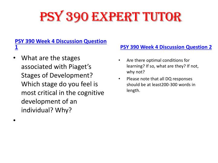 PSY 390 expert tutor