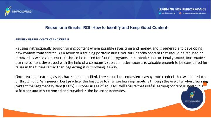 Reuse for a Greater ROI: How to Identify and Keep Good Content