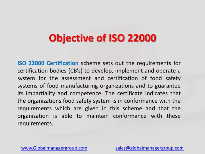 Objective of ISO 22000