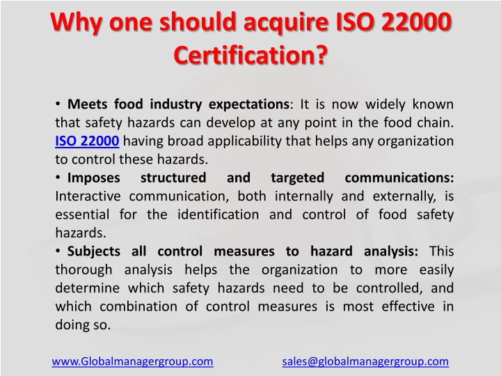 Why one should acquire ISO 22000