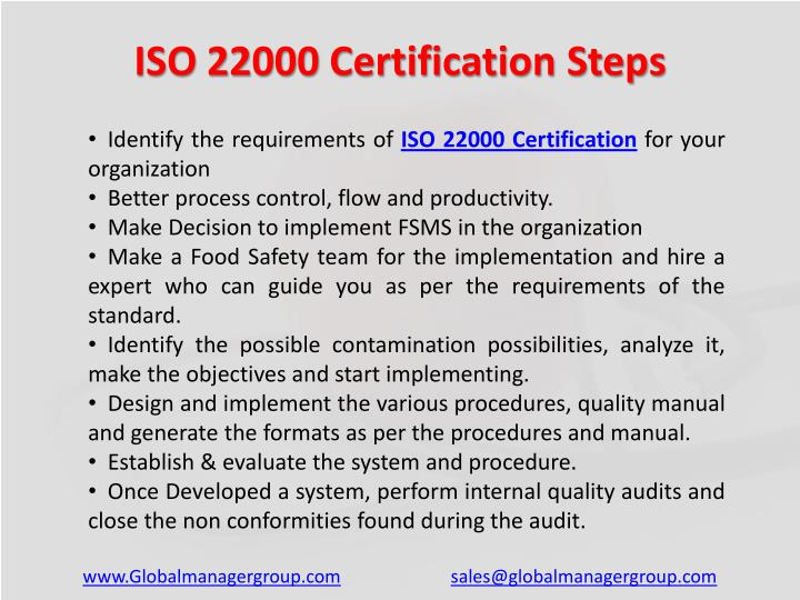 ISO 22000 Certification Steps