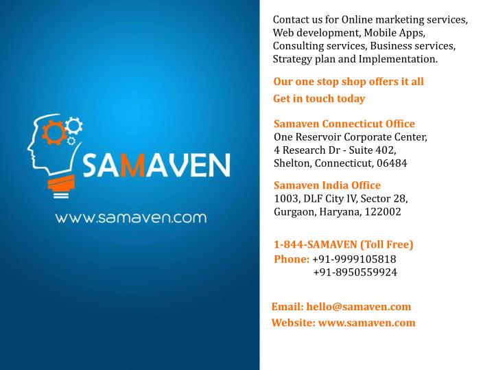 Contact us for Online marketing services,
