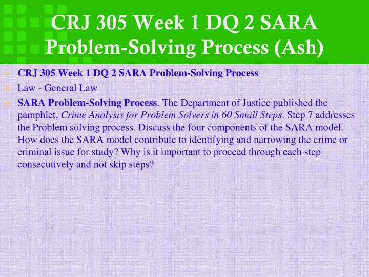 CRJ 305 Week 1 DQ 2 SARA Problem-Solving Process (Ash)