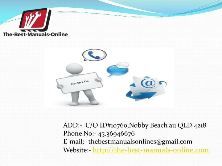 ADD:-  C/O ID#10760,Nobby Beach au QLD 4218