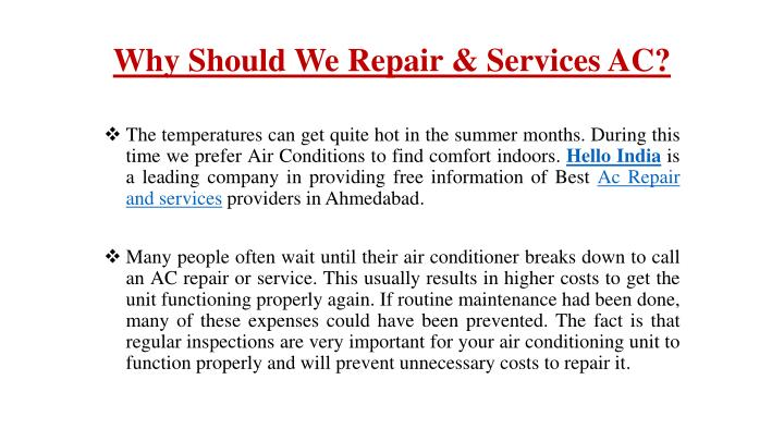 why should we repair services ac
