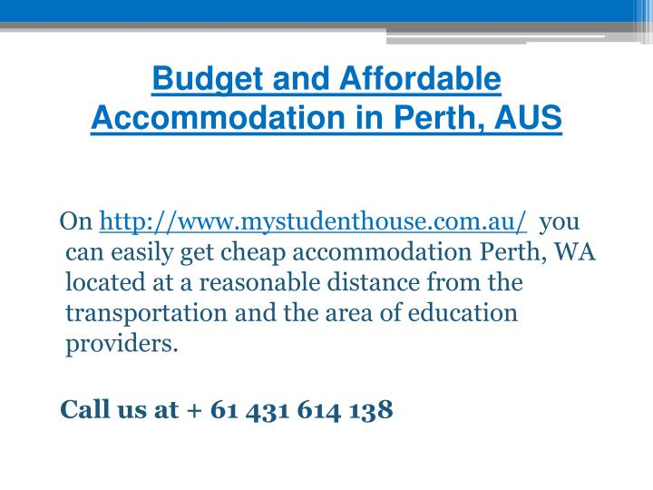 Budget and Affordable Accommodation in Perth, AUS
