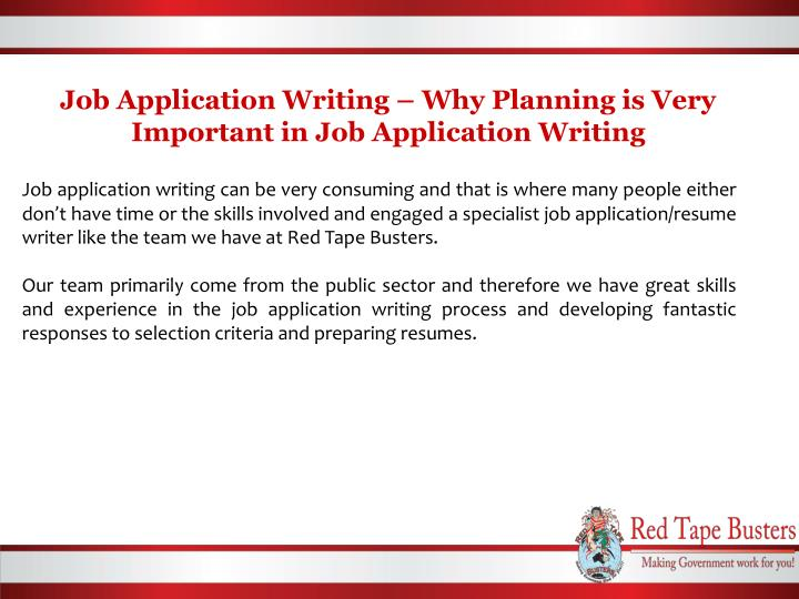 Job application writing why planning is very important in job application writing