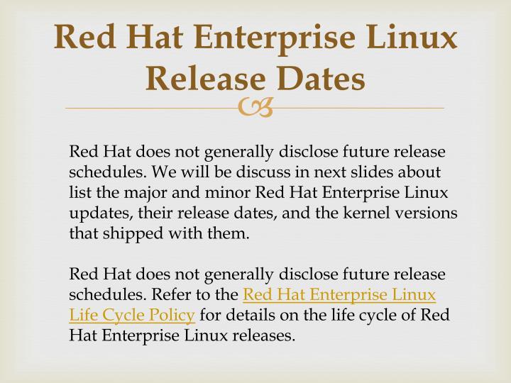 Red Hat Enterprise Linux Release Dates