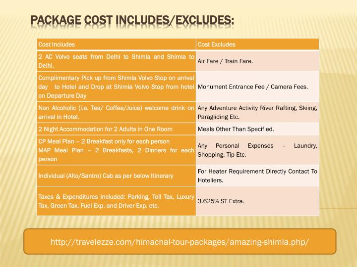PACKAGE COST INCLUDES/EXCLUDES: