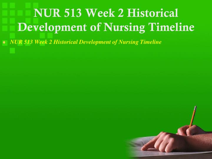 NUR 513 Week 2 Historical Development of Nursing Timeline