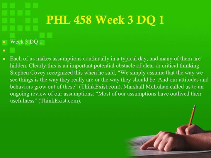 PHL 458 Week 3 DQ 1