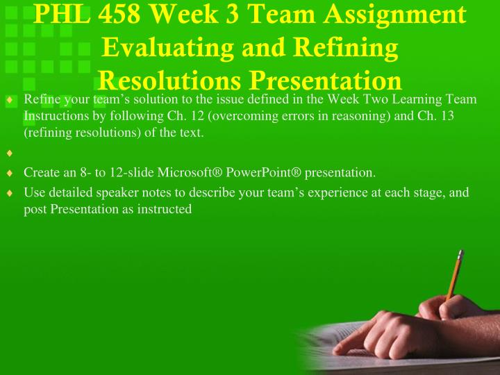 PHL 458 Week 3 Team Assignment Evaluating and Refining Resolutions Presentation