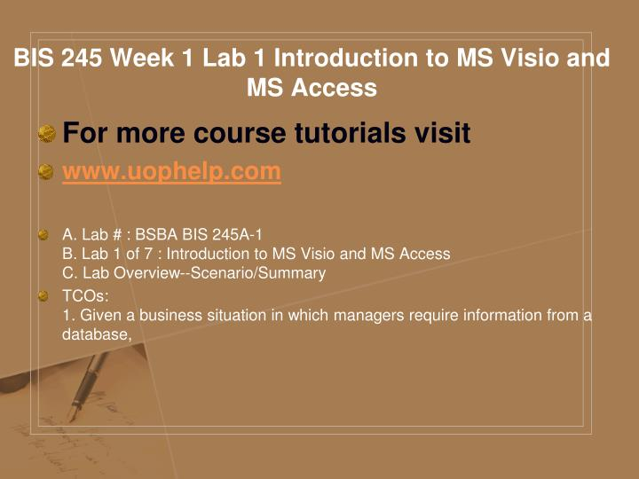 BIS 245 Week 1 Lab 1 Introduction to MS Visio and MS Access