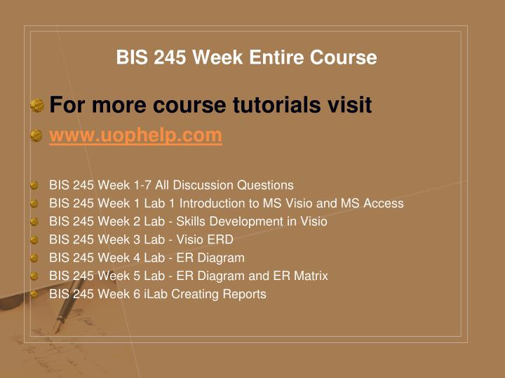 Bis 245 week entire course