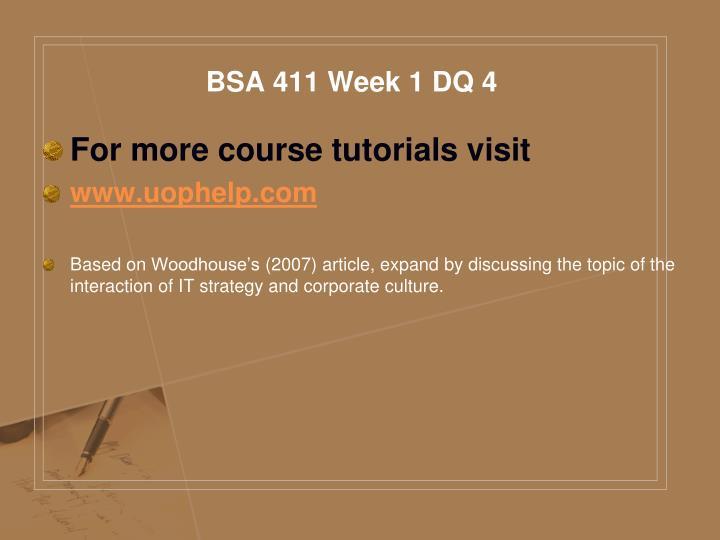 BSA 411 Week 1 DQ 4