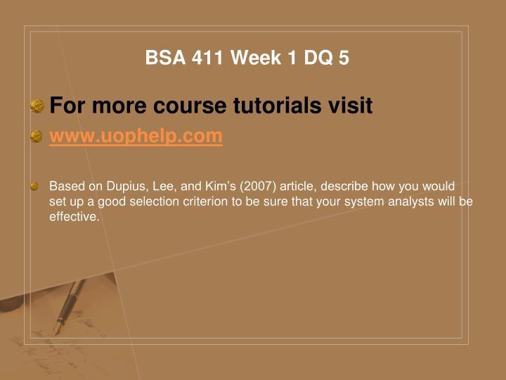 BSA 411 Week 1 DQ 5