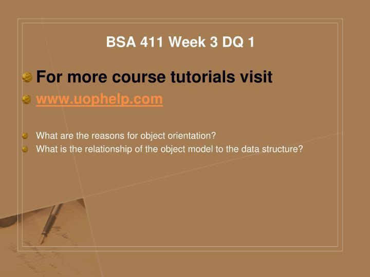 BSA 411 Week 3 DQ 1
