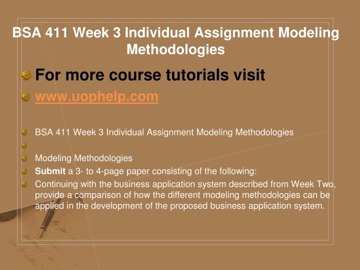 BSA 411 Week 3 Individual Assignment Modeling Methodologies