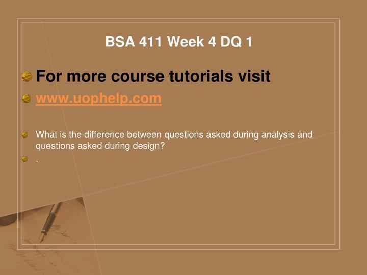 BSA 411 Week 4 DQ 1